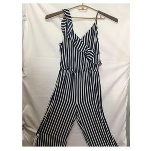 Bar III Striped Sleeveless Jumpsuit Size XL K23